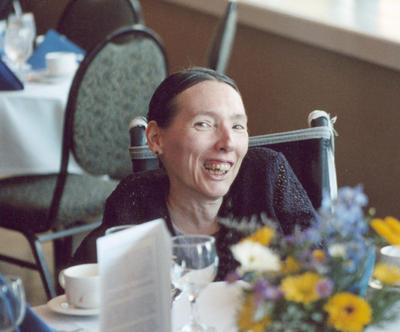 Harriet at Barry Corbet's memorial service, May 22, 2005